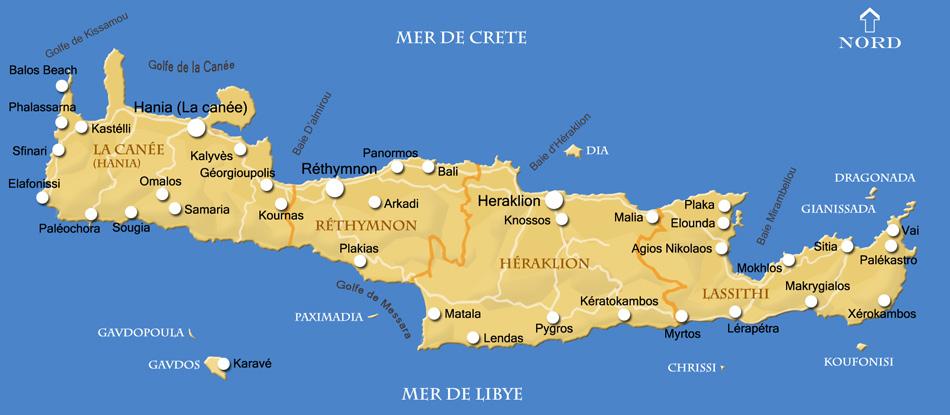 carte crète en francais Carte de Crète